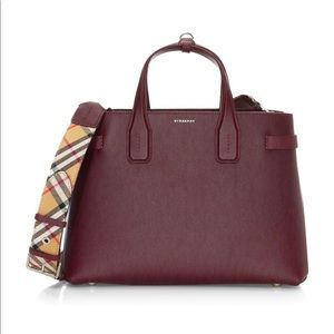 Burberry Medium Banner Mahogany Leather Satchel